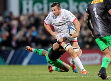 Alan O'Connor makes a carry against Quins.