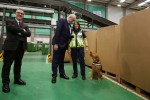 EU Trade Commissioner Phil Hogan at An Post's new automated parcel hub in Dublin this morning.