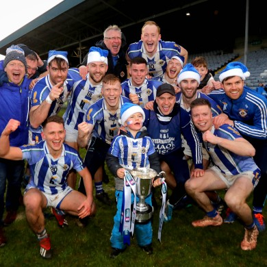 Ballyboden St-Enda's players celebrate their victory.