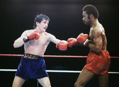 Barry McGuigan in action against WBA Champion Eusebio Pedroza in 1985.