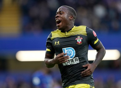 Michael Obafemi celebrates scoring against Chelsea.