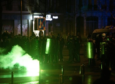 Protesters clashed with police during the demonstration in Paris today.