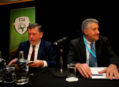 FAI president Donal Conway and Vice President Paul Cooke at the AGM press conference yesterday in Dublin.
