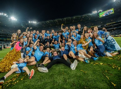 The Dublin team celebrating five-in-a-row with fans.