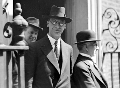 Eamon De Valera on the steps of No. 10 Downing Street, London.