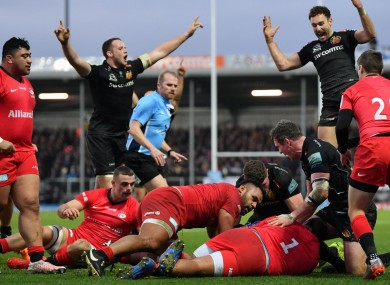 Exeter Chiefs celebrate Jacques Vermeulen's try.