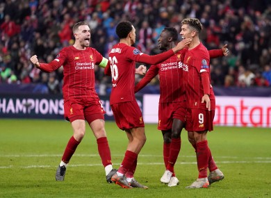 Liverpool players celebrate.