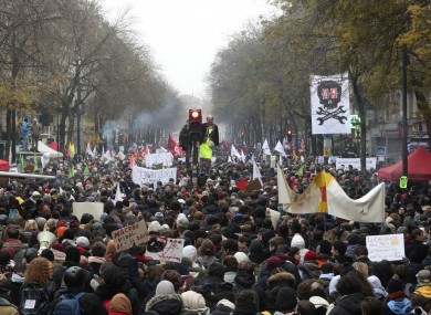Protesters demonstrate France on Thursday as unions launch nationwide strikes