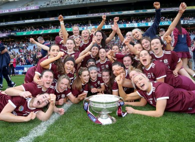 The victorious Galway team after the 2019 All-Ireland final.