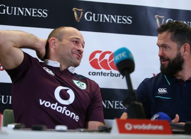 Rory Best and Andy Farrell during an Ireland press conference.