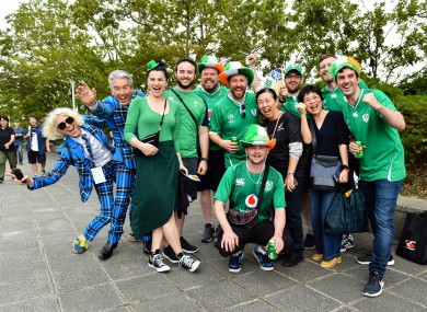 Fans gathering for the 2019 Rugby World Cup match between Ireland and Scotland in Yokohama City.