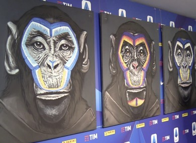 A view of the three paintings, part of a new campaign against racism launched by the Italian soccer league in Milan.