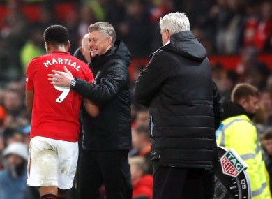 Anthony Martial is saluted by Ole Gunnar Solskjaer as he leaves the field.