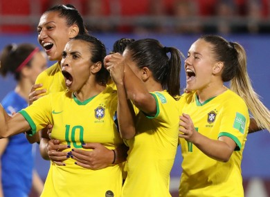 Brazil celebrate a goal by Marta at the 2019 Women's World Cup