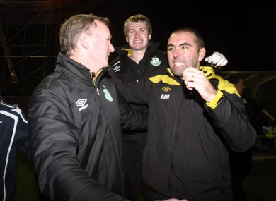 Myler (right) during his time coaching alongside Michael O'Neill at Shamrock Rovers.