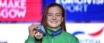 Winner, winner: Mona McSharry with her medal.