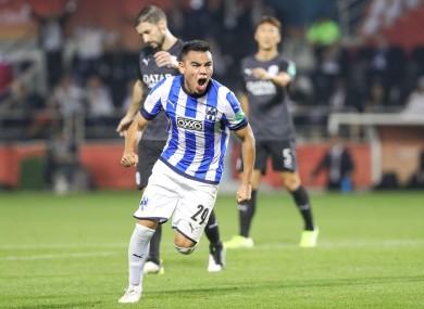 Carlos Rodriguez of Monterrey celebrates.