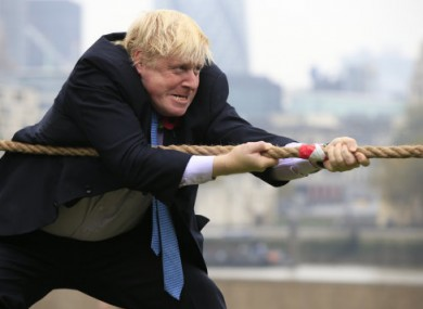 Boris Johnson takes part in a tug of war while Mayor of London.
