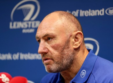 Leinster assistant coach Robin McBryde during the pre-match press conference ahead of their clash with Connacht.