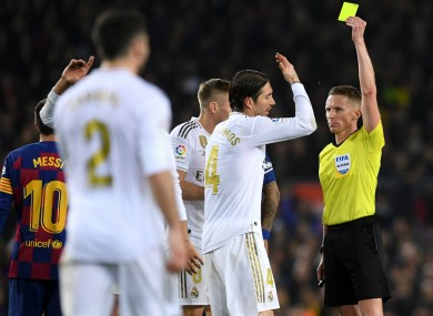 Sergio Ramos is booked during the Clasico.