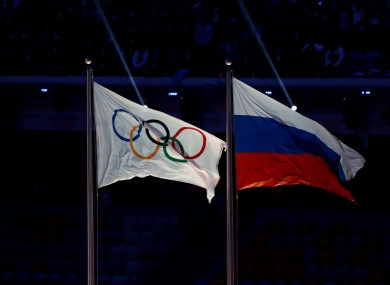 The Olympic and Russian flags.