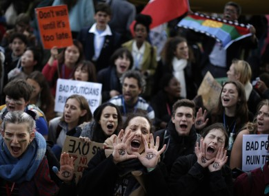 Students at a Fridays for Future march outside the COP25 climate talks yesterday in Madrid.