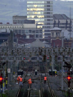 The railway line to Belfast at Connolly Station, Dublin. File photo from 2002.