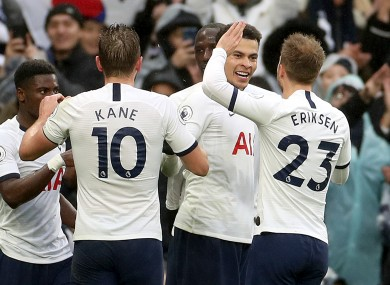 Tottenham Hotspur's Dele Alli (2nd right) celebrates scoring his side's second goal.