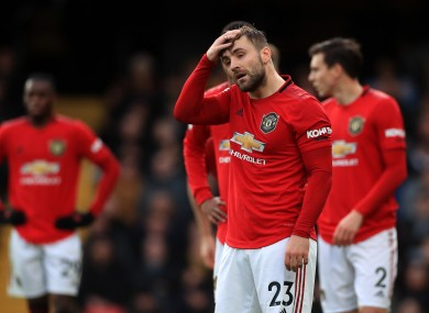 Manchester United's Luke Shaw during the Premier League match at Vicarage Road.