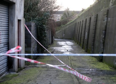 Gardaí at the scene of the burnt-out vehicle that was found on Trinity Terrace.