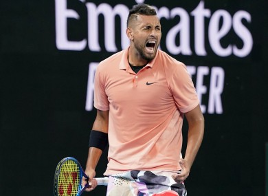 Kyrgios in action at the Australian Open.