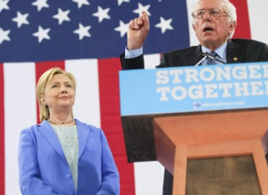Sanders speaking at a Clinton event after she defeated him for the Democratic nomination in 2016.