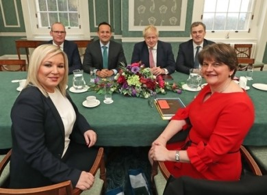 Michelle O'Neill and Arlene Foster in a meeting with the Irish and British governments last week.