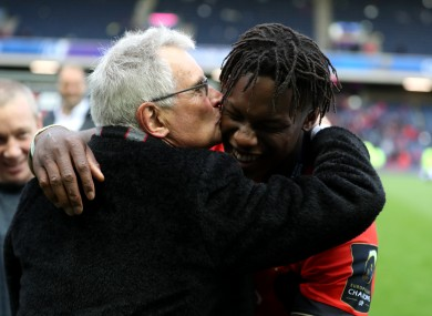 Then-Saracens' chairman Nigel Wray celebrates Champions Cup success with Maro Itoje in 2017.