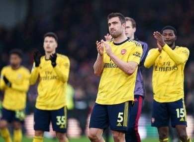 Arsenal's Sokratis Papastathopoulos applauds the fans after the Premier League match at Selhurst Park.