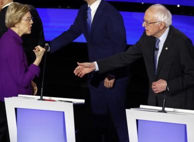 Elizabeth Warren and Bernie Sanders during last night's debate