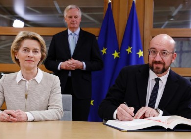 President of the European Council, Charles Michel, alongside Ursula von der Leyen and Michel Barnier, as he signs the UK Withdrawal Agreement.