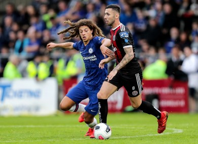 Robbie McCourt under pressure from Ethan Ampadu while playing for Bohemians in a friendly against Chelsea last July.