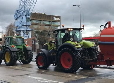 Farmers arrive at Dublin Port.