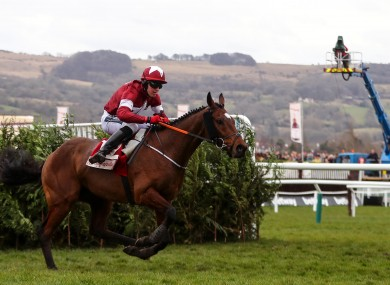 Keith Donoghue onboard Tiger Roll at the 2018 Cheltenham Festival.