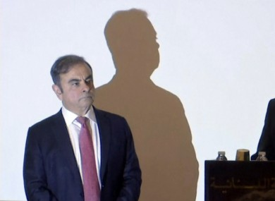 Carlos Ghosn faces the media in Beirut, Lebanon.