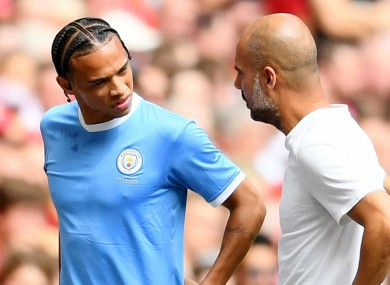 Leroy Sane limps off injured against Liverpool in August.