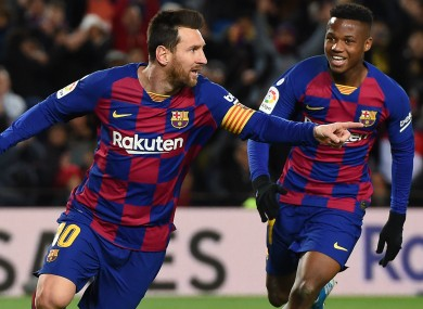 Lionel Messi after scoring against Granada.