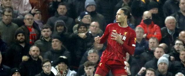 Van Dijk celebrates his goal.