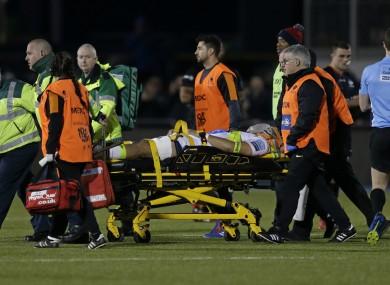 Michael Fatialofa is taken off by stretcher