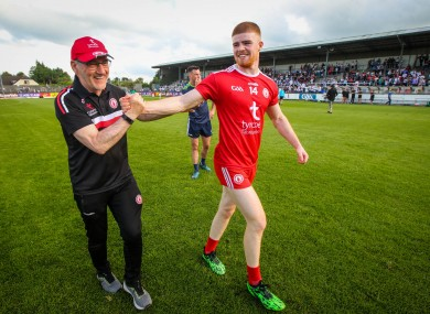 Mickey Harte and Cathal McShane.