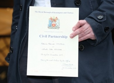 A UK civil partnership certificate.