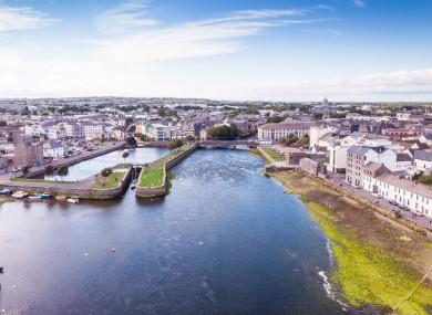 Aerial shot around Galway in the west of Ireland.