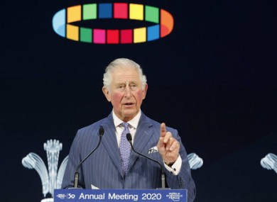 Prince Charles addressing the World Economic Forum in Davos.
