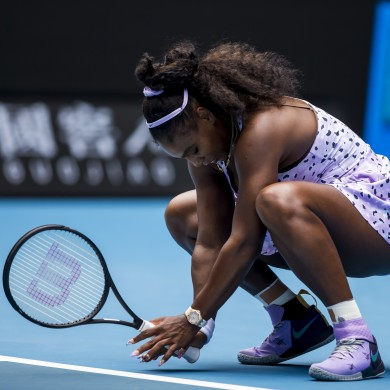 Serena Williams of the United States of America shows her frustration.